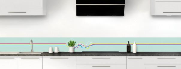 Crédence de cuisine Light painting couleur vert pastel dosseret motif inversé