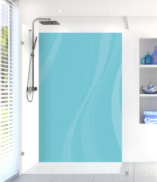 Panneau de douche Voilage couleur bleu lagon motif inversé