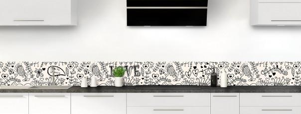 Crédence de cuisine Love illustration couleur magnolia dosseret