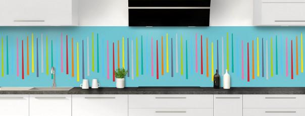 Crédence de cuisine Barres colorées couleur bleu lagon panoramique