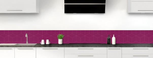 Crédence de cuisine Cubes en relief couleur prune dosseret