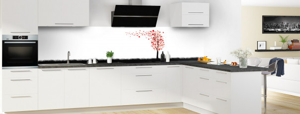 Crédence de cuisine Arbre d'amour couleur rouge vif panoramique motif inversé en perspective