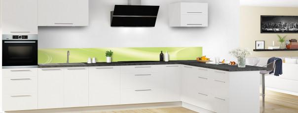 Crédence de cuisine Volute couleur vert olive dosseret motif inversé en perspective