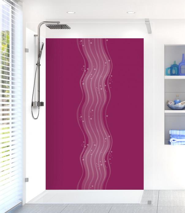 Panneau de douche Vagues design couleur prune