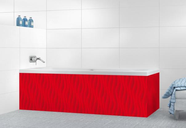 Panneau tablier de bain Ondes couleur rouge vif