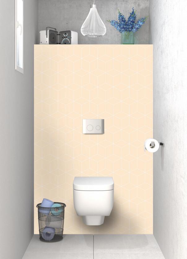 Panneau WC Cubes en relief couleur sable