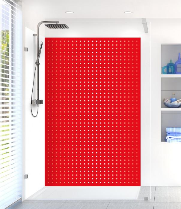 Panneau de douche Petits carrés couleur rouge vif
