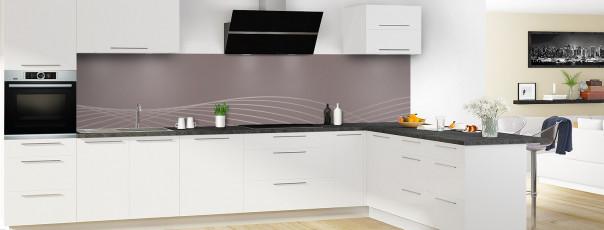 Crédence de cuisine Courbes couleur taupe panoramique motif inversé en perspective