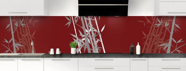 Crédence de cuisine Bambou zen couleur rouge pourpre panoramique motif inversé