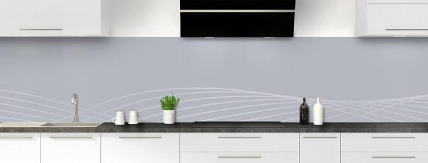 Crédence de cuisine Courbes couleur gris métal panoramique