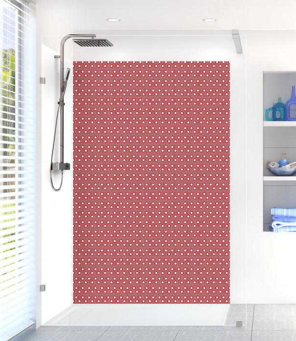Panneau de douche Hexagones  couleur rouge vif