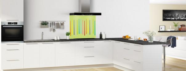 Crédence de cuisine Barres colorées couleur vert olive fond de hotte en perspective