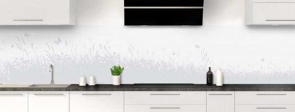 Crédence de cuisine Prairie et papillons couleur gris clair panoramique