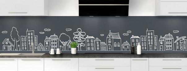 Crédence de cuisine Dessin de ville couleur gris carbone panoramique