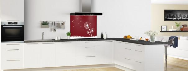 Crédence de cuisine Pissenlit au vent couleur rouge pourpre fond de hotte motif inversé en perspective