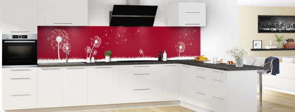 Crédence de cuisine Pissenlit au vent couleur rouge carmin panoramique en perspective