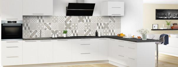 Crédence de cuisine Carreaux de ciment patchwork taupe panoramique en perspective