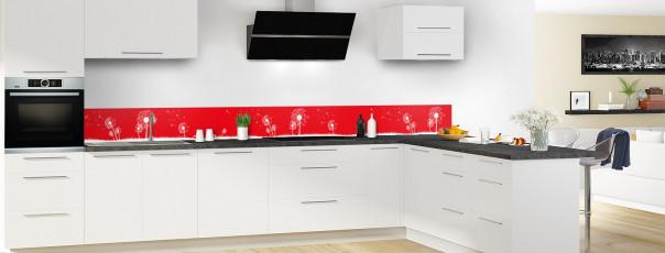 Crédence de cuisine Pissenlit au vent couleur rouge vif dosseret motif inversé en perspective