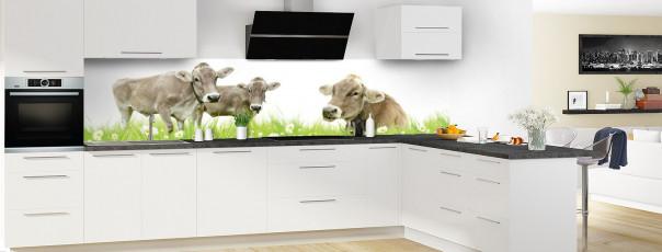 Crédence de cuisine Vaches panoramique motif inversé en perspective