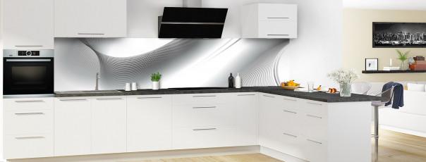 Crédence de cuisine Volute couleur blanc panoramique en perspective