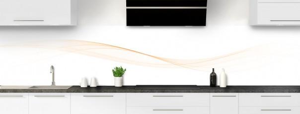 Crédence de cuisine Vague graphique couleur magnolia panoramique