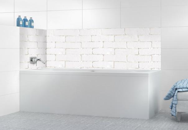 Panneau de bain Mur briques blanches
