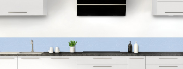 Crédence de cuisine Gribouillis couleur bleu azur dosseret