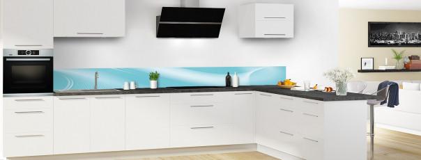 Crédence de cuisine Volute couleur bleu lagon dosseret motif inversé en perspective