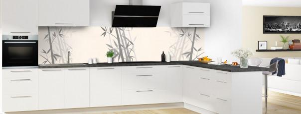 Crédence de cuisine Bambou zen couleur magnolia panoramique motif inversé en perspective