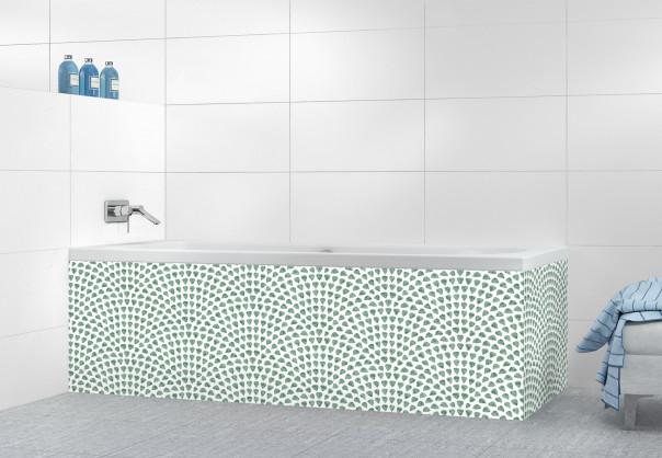 Panneau tablier de bain Mosaïque petits cœurs couleur vert pastel