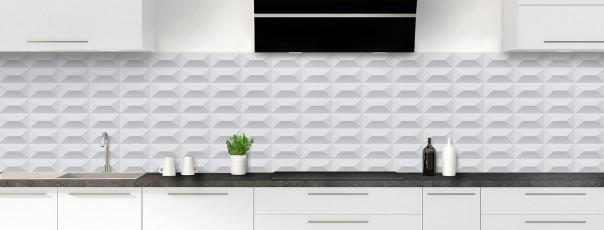 Crédence de cuisine Briques en relief couleur gris clair panoramique
