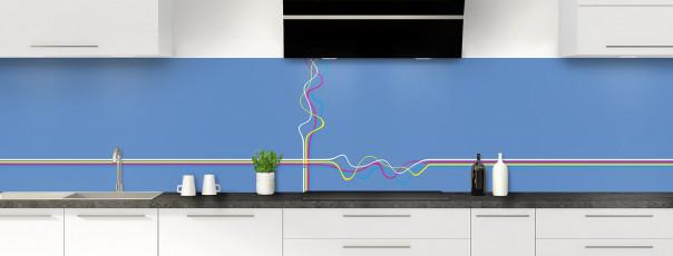 Crédence de cuisine Light painting couleur bleu lavande panoramique