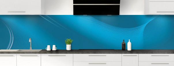 Crédence de cuisine Volute couleur bleu baltic panoramique motif inversé
