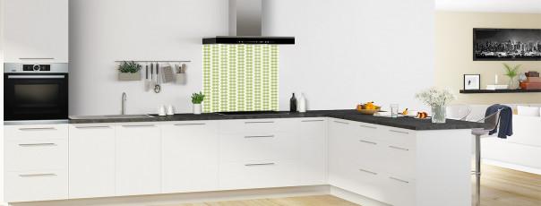 Crédence de cuisine Petites Feuilles Blanc couleur vert olive fond de hotte en perspective