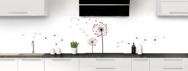 Crédence de cuisine Envol d'amour couleur rouge vif panoramique