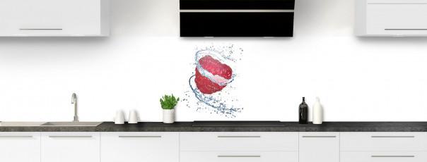 Crédence de cuisine Aqua et framboise panoramique