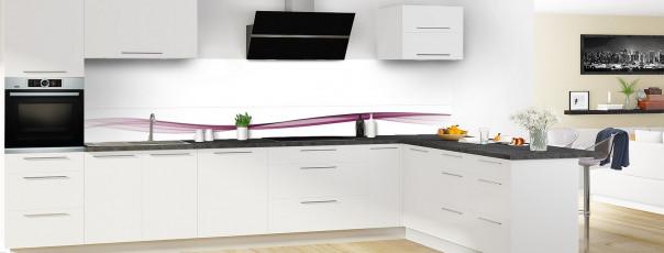 Crédence de cuisine Vague graphique couleur prune dosseret motif inversé en perspective