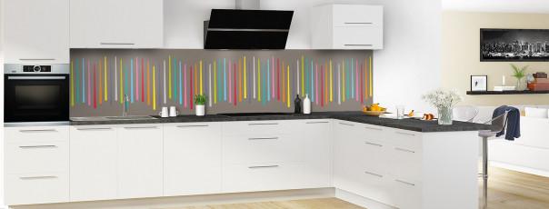 Crédence de cuisine Barres colorées couleur taupe panoramique en perspective