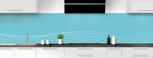 Crédence de cuisine Courbes couleur bleu lagon panoramique motif inversé