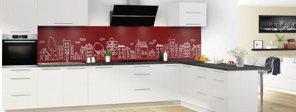 Crédence de cuisine Dessin de ville couleur rouge pourpre panoramique en perspective