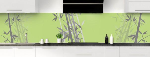 Crédence de cuisine Bambou zen couleur vert olive panoramique motif inversé
