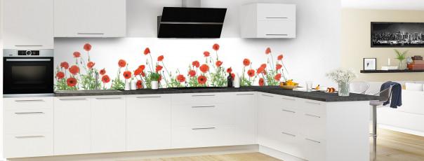 Crédence de cuisine Coquelicots Fond blanc panoramique motif inversé en perspective