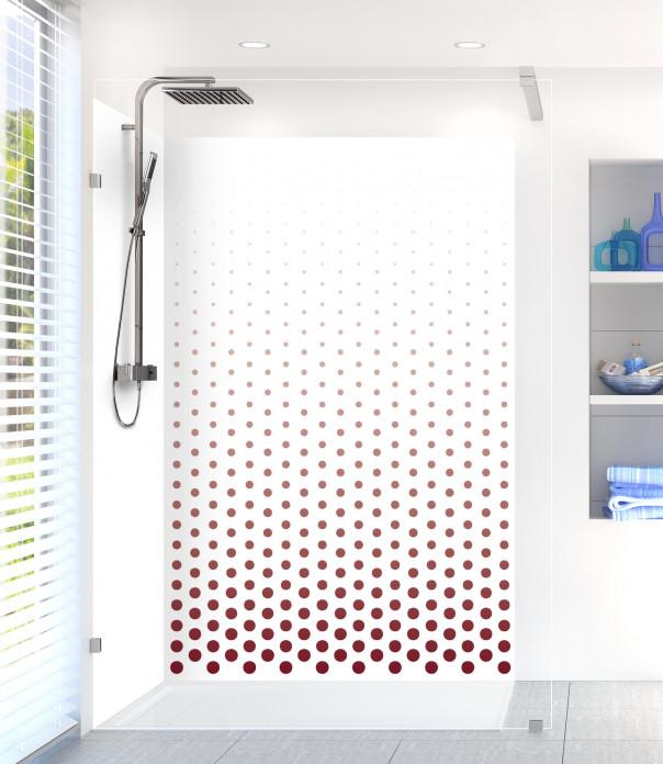 Panneau de douche Pluie de points couleur rouge pourpre