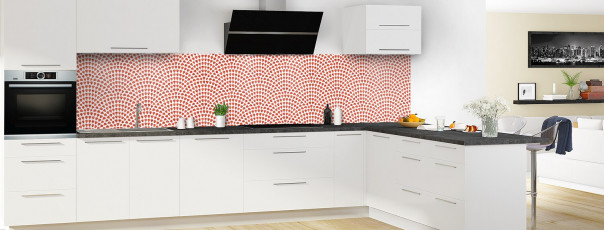 Crédence de cuisine Mosaïque petits cœurs couleur rouge brique panoramique en perspective