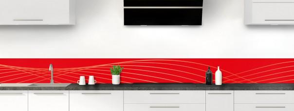 Crédence de cuisine Courbes couleur rouge vif dosseret motif inversé