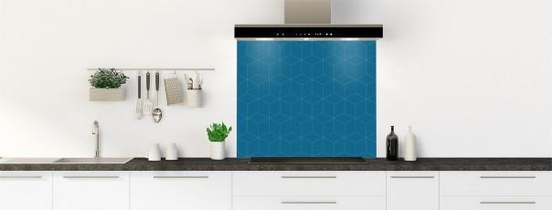 Crédence de cuisine Cubes en relief couleur bleu baltic fond de hotte