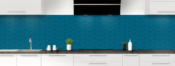 Crédence de cuisine Motif vagues couleur bleu baltic panoramique
