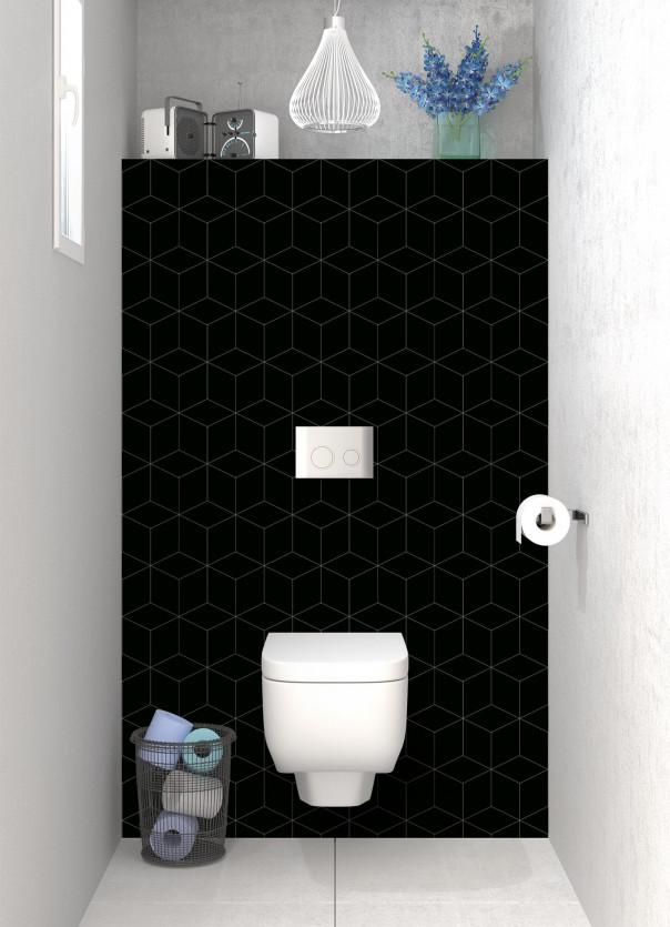 Panneau WC Cubes en relief couleur noir