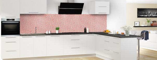 Crédence de cuisine Mosaïque petits cœurs couleur rouge vif panoramique en perspective