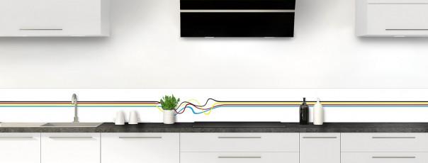 Crédence de cuisine Light painting couleur blanc dosseret motif inversé